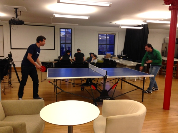Our CEO and Lead Engineer play a game of table tennis