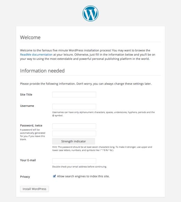 Panamax WordPress Install